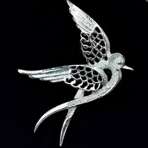 Vintage Signed Sarah Coventry Silver Bird Brooch